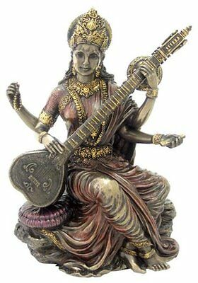 "5.5"" Hindu Goddess Saraswati Playing Vina Statue Sculpture Figurine Sarasvati"