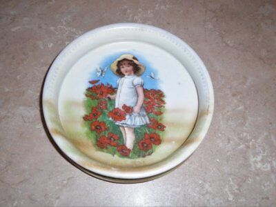Rare Antique Vtg Childs Bowl Dish Porcelain 3 Crown Germany Girl Poppies