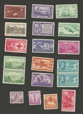 1933 to 1956 Unused 3 Cent Assorted Postage Stamps Lot of 19