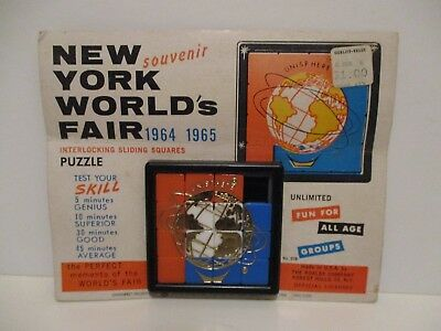 Vintage 1964 1965 Nywf New York Worlds Fair Souvenir Slide Puzzle Game Carded