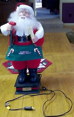 """Vintage 24"""" Animated Workshop Santa with Candle Light and Hammer - Indoor Figure"""