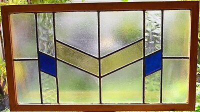 Antique Leaded English Stained Glass Window Wood Frame England Old House 56