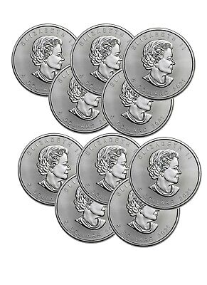 Lot of 10 Silver 2019 Canada 1 Oz .9999 Silver Maple Leaf $5 Coins
