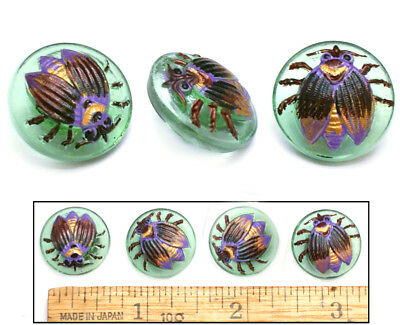 18mm Vintage Czech Glass Green Purple FLY Insect Buttons 4pc GREAT FOR CLASPS