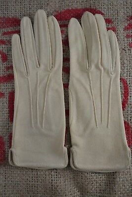 VINTAGE 1960s CORNELIA JAMES leather trimmed ivory/cream fabric gloves size 6