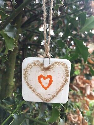 Handmade Fused Glass Love Hearts Unique Hanging Gift, Birthday, Valentines