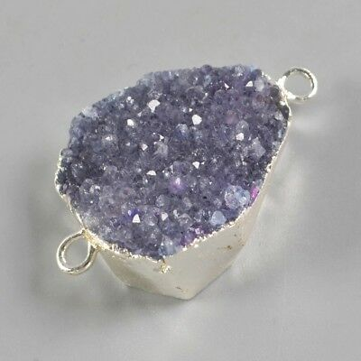 Purple Agate Druzy Geode Connector Silver Plated T072942