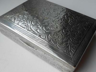Super Little Antique Vintage Indian Silver Plate White Metal Decorated Box