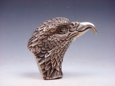 Vintage Silver Plated Copper Crafted Furious Eagle Head Sculpture #01081901