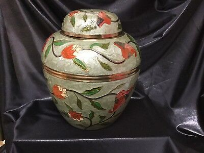 Solid Brass Cloisonné  10 Inch Tall  Ginger Jar /Urn With Lid