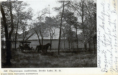 Devils Lake, North Dakota  Chautauqua Auditorium  Vintage Photo Postcard 1908