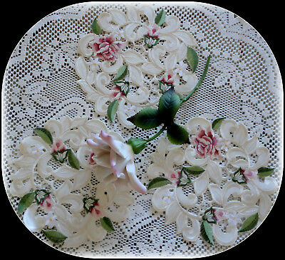 """Doilies Set of Three 7.5"""" Royal Rose Lace Doily Flower Floral Round Roses"""