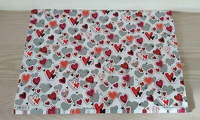 Heart Valentines Day Lovers Gift Wrap Sheet & Tag - NEW