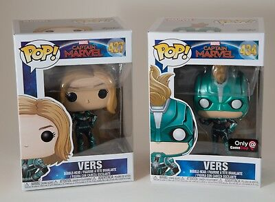 Funko Pop Captain Marvel Vers #427 & 434 Gamestop Exclusive! Set of 2!