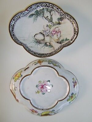 Very Rare Pair Early Antique Chinese Canton Enamel Dish Bowl Cloisonne Interest