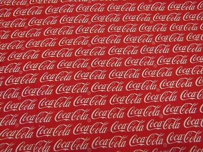 Licensed Coca-Cola White Words Red 10051 Sykel Quilt OOP RARE Cotton Fabric BTFQ