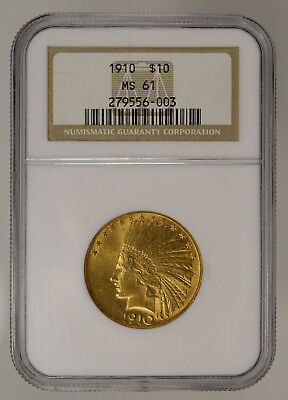 1910 $10 Indian Head Gold Eagle * Ngc Ms 61 * Lot#c967