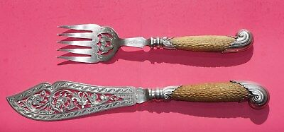 Antique Sheffield  Fish Serving Set by Harrison Bros & Howson-Stag Horn Handles