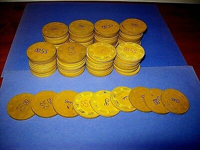 Lot of 89  Vintage $5.00 Yellow Monogrammed Paulson Clay Top Hat Poker Chips