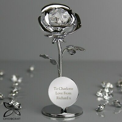 Personalised Crystocraft Single Rose Ornament Valentine's Day Mother's Day Gift