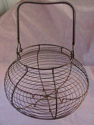 Metal Wire Egg Basket 1960's Traditional French Copper Vintage Large 11 in Dia