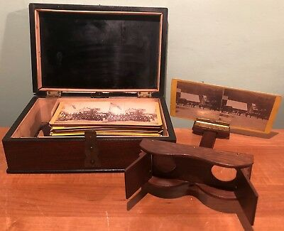 VINTAGE UNUSUAL LEES' STEREO CARD VIEWER with 40 CARDS IN ORIGINAL BOX