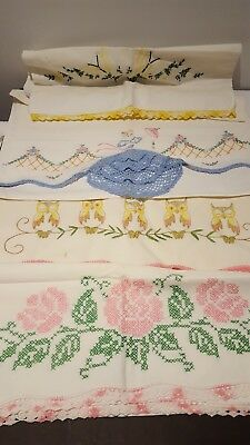 vintage hand embroidered pillowcases Lot Of 7 pieces. (3 sets 1 single)