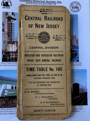 April 28, 1935 Central Railroad Of New Jersey Central Employee Timetable #105