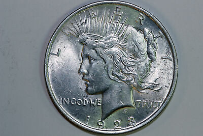 Grades About Uncirculated 1923 P Super Slider 90% Silver Peace Dollar (PDX1166)