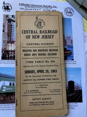 April 1963 Cnj Central Railroad Of New Jersey Central Employee Timetable #164