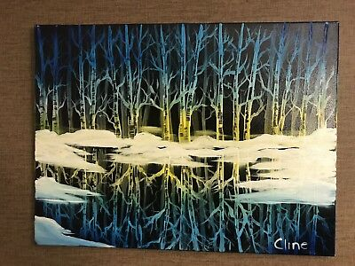 "Original Oil Painting 18x24 Winter Scene ""Icy Reflections"" (Art/Landscapes)"