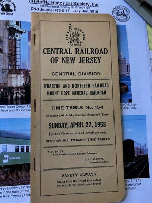 April 1958 Cnj Central Railroad Of New Jersey Central Employee Timetable #154