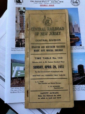 April 1951 Cnj Central Railroad Of New Jersey Central Employee Timetable #140