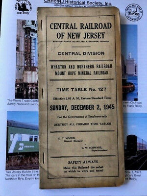 December 1945 Cnj Central Railroad Of New Jersey Central Employee Timetable #127