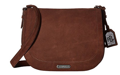 278 NWT Ralph Lauren Glennmore Larisa Brown Suede Saddle Messenger  Crossbody a5efc4e4cdbb2