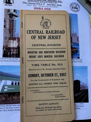October 1957 Cnj Central Railroad Of New Jersey Central Employee Timetable #153