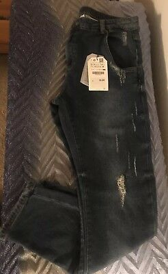 Zara Boys Blue Low Rise Distressed Denim Jeans Size 13/14 New With Tags