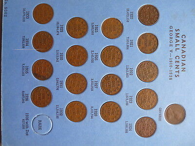 Vintage Canada Collection Small Cent  1920 To 1972 All Key Date Include     Z480
