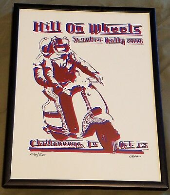 Framed Hill On Wheels Scooter Rally Poster 2010 - Signed #6/20 - Vespa Lambretta