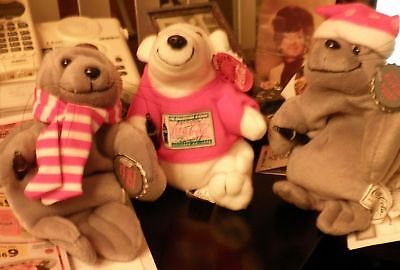 """Coca-Cola Plush Bear and two Seals """"the Collection Classic"""" 1997 n 1998"""