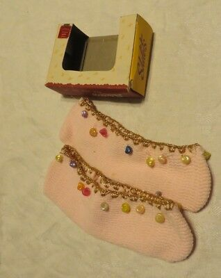 Vintage 50s Slippers Travel Stretch Dangle Sea Shells NOS w box Rockabilly VLV