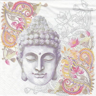 4x Paper Napkins for Party and Decoupage Craft Buddha Head stone