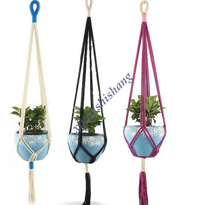 Plant Hanger Hanging Planter Basket Pot Holder Macrame Jute Rope Braided Craft