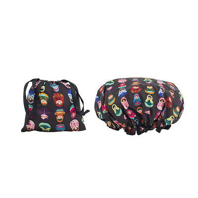 Dilly's Collections Shower Cap / Matching Satin Bag Hair Care Babushka Style