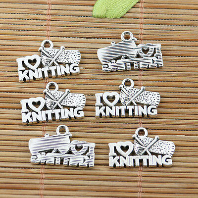 16pcs tibetan silver plated I LOVE KNITTING charms EF2236