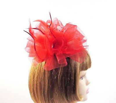 9d52cef40be14 RED FEATHER LOOP Fascinator Comb Pearls Hat Society Ladies - $12.79 ...