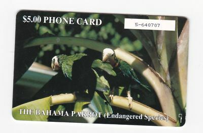 Bahamas used phone card $5 The Bahama Parrot