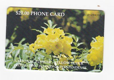 Bahamas used phone card $20 National Flower-Yellow Elder