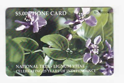 Bahamas used phone card $5 National Tree-Lignum Vitae
