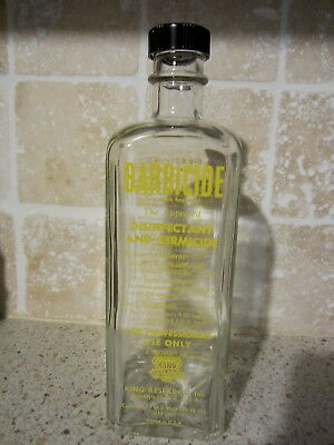 Vintage 1950's King Research Barbicide Disinfectant and Germicide  Glass Bottle